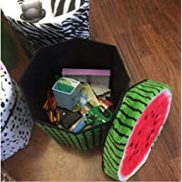 FunBlast Multi-Functional Folding Storage Ottoman Box Organizer Cum Stool with Seat Cushion, Storage Boxes for Toys for Kids (Water Melon)