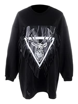 Anna Kaci S/M Fit Alternative Sketched Reindeer Sweatshirt Black and White