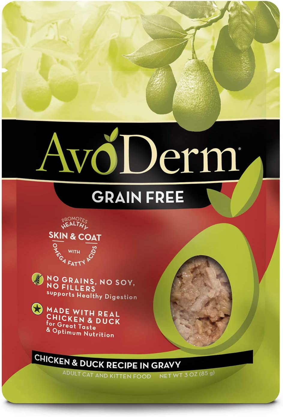 AvoDerm Natural Grain Free Chicken & Duck Recipe in Gravy Pouch Wet Cat Food 3 oz