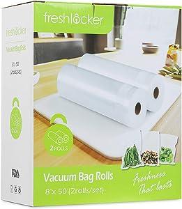 "Freshlocker Vacuum Sealer Rolls, 2 Rolls 8""x 50'' Vacuum Sealer Bags 4 MIL Embossed Commercial Grade Reusable Sous Vide Food Bags for Food Preservation (Total 100 Feet)"