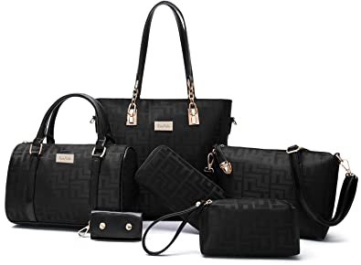 e6a89dab65f2 Amazon.com  Women Shoulder Bag Tote Bag for Work Handbag and Purse 6 Piece Set  Bag (Black-2)  Shoes