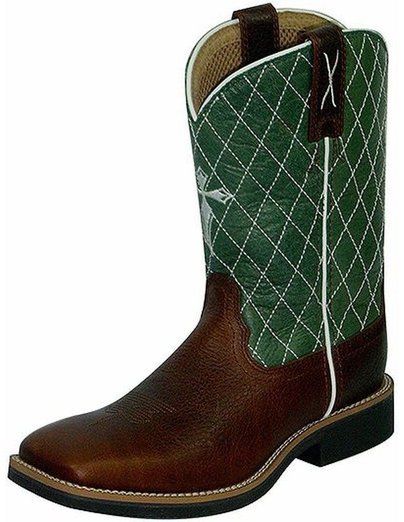 Twisted X Boys' Green Cowkid Work Boot Square Toe Cognac 1 D(M) US