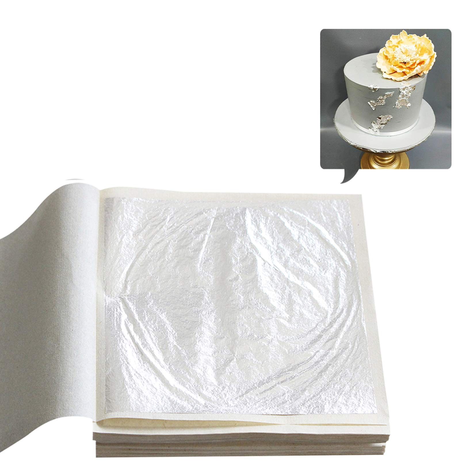 KINNO Edible Silver Leaf Sheets, Pure Silver Foil Sheet 4.33'' x 4.33'' for Facial, Health & Spa and Cooking, Cakes, Chocolate Decor 10 Pieces