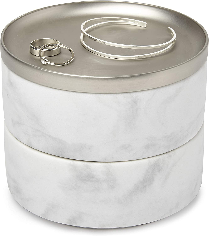 Umbra Tesora - Joyero apilable para el almacenamiento de anillos, aretes, cadenas, relojes, pulseras y accesorios, Blanco/Níquel