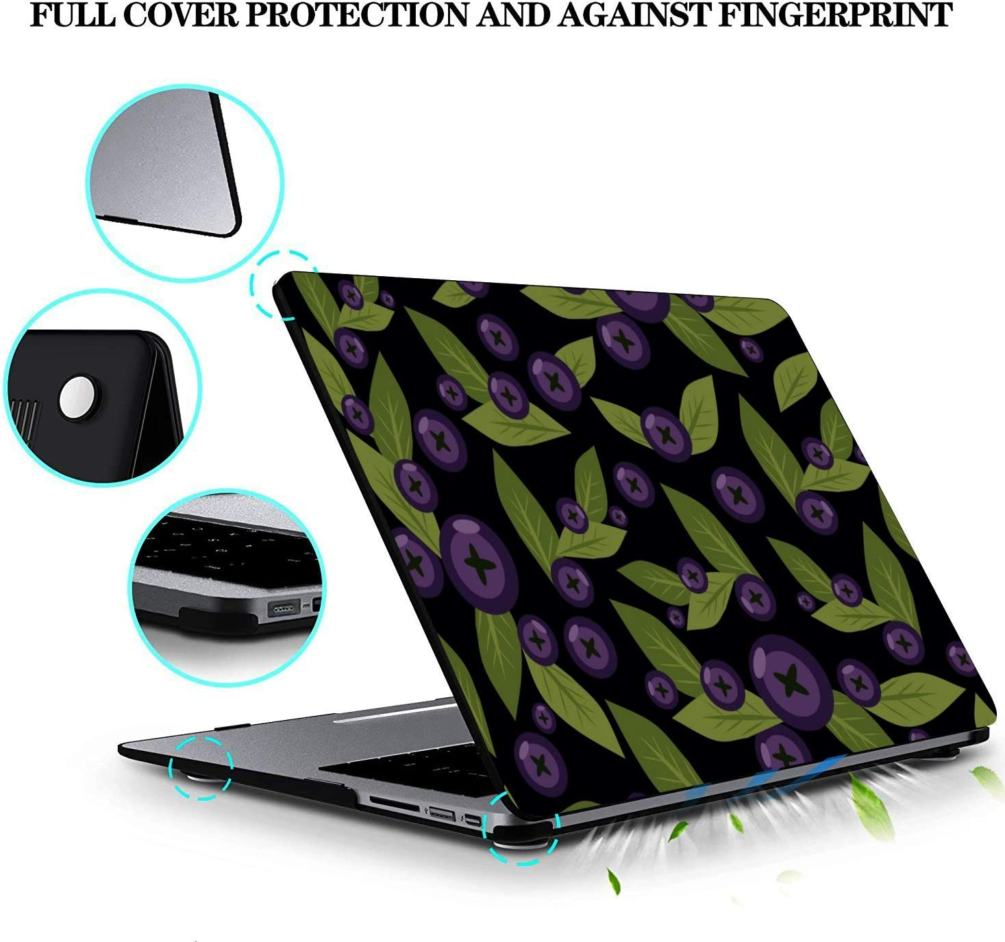 Laptop Pro Accessories Summer Sweet Sour Fruit Blueberry Plastic Hard Shell Compatible Mac Air 11 Pro 13 15 Cover for MacBook Air Protection for MacBook 2016-2019 Version