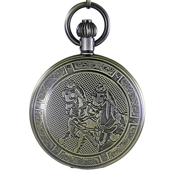 Ogle 3ATM impermeable Vintage bronce caballo negro Tourbillon luna fases Mens Lady Mujeres Estudiante analógica cadena Fob Self bobinado mecánico reloj de bolsillo caja