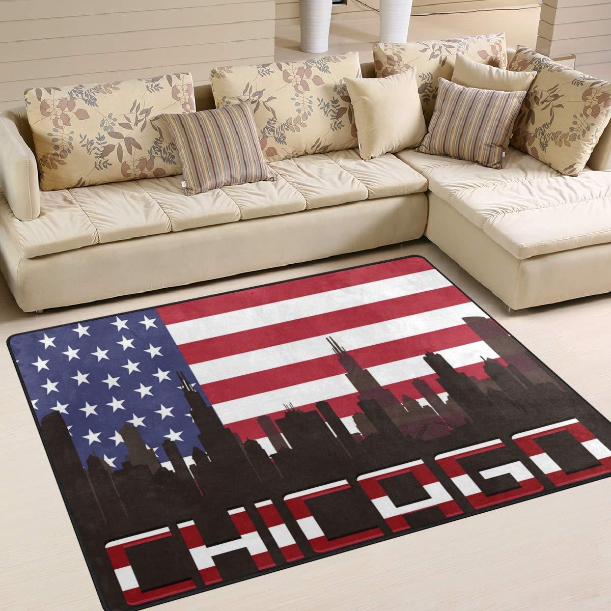 1 Polyester 80 X 58 Inch Malplena Chicago Usa Flag Zone