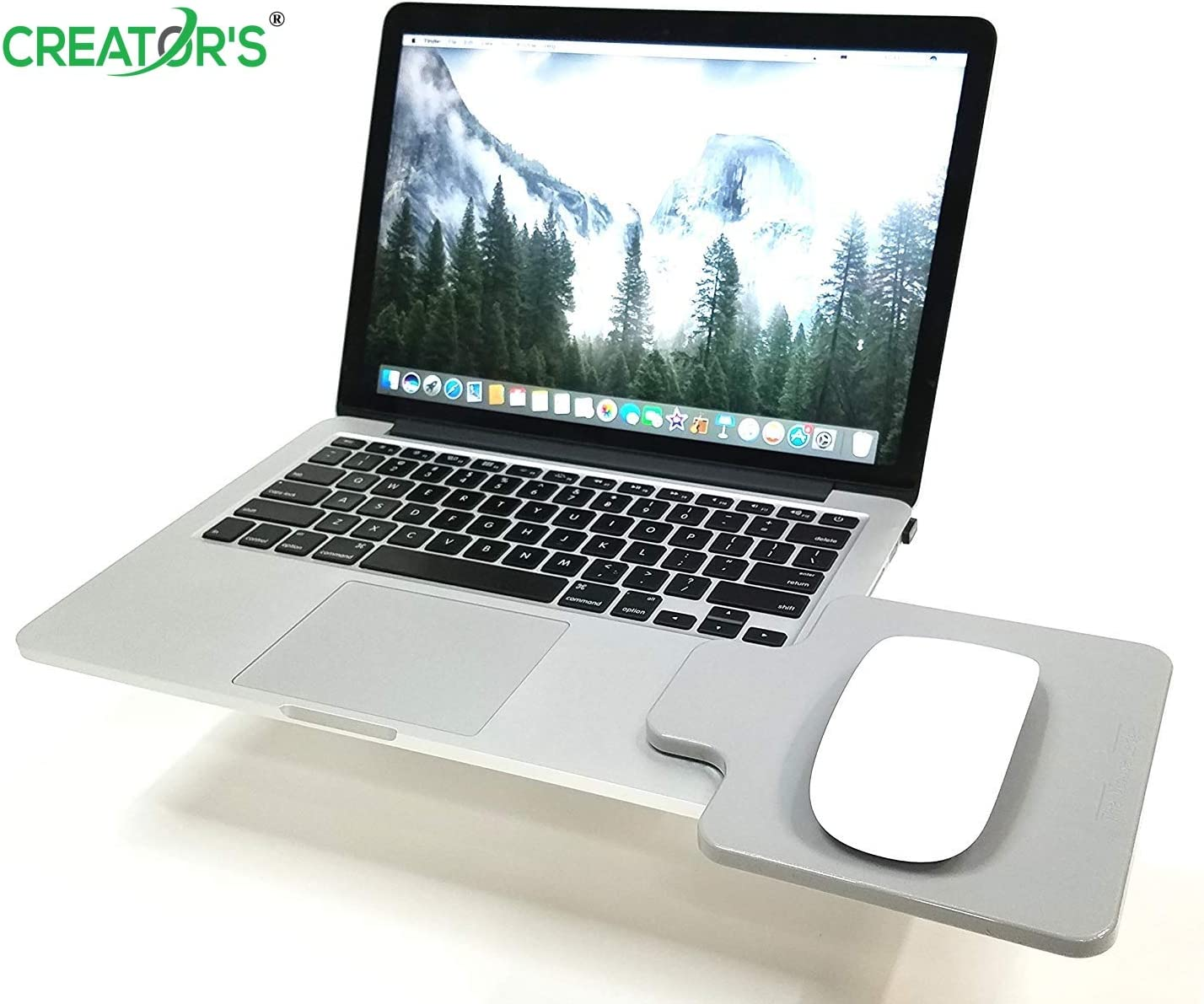 Creator's Mouse Ledge - Gray - Platform Laptop Chromebook Computer Extension - 100% MADE IN USA - SLICK Surface W/EDGE GUARD - Attach Directly To Either Side Of Laptop To Create A Portable Workstation