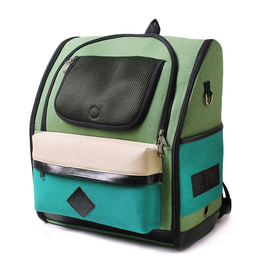 ArmyGreen Pet Backpack, Dog Cat Backpack Carrier Breathable Pet Double Shoulders Fashion Bag for Outdoor Travel(33cm  18cm  42cm) (color   ArmyGreen)