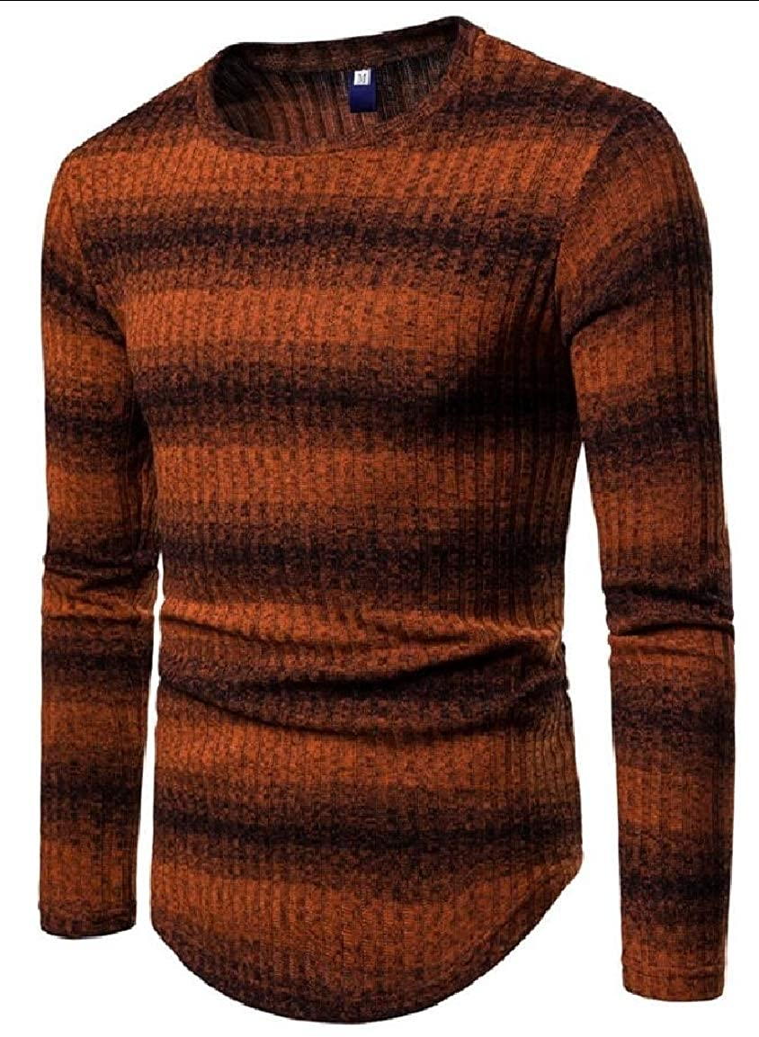 mydeshop Mens Autumn Winter Gradient Stripe Crewneck Pullover Knitted Long Sleeve Sweater