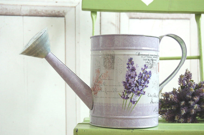 Karaffe im Landhausstil Kanne mit Lavendelmotiv Gießkanne Vintage Blechkanne
