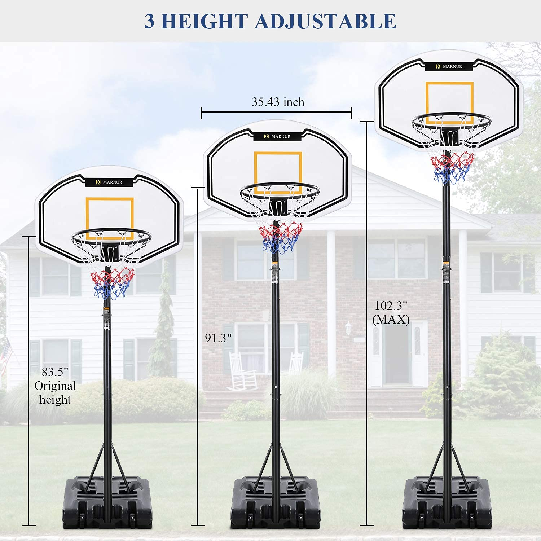 "PORTABLE OUTDOOR BASKETBALL GOAL HOOP SYSTEM W// 44/"" BACKBOARD ADJUSTS 7.5-10 FT"