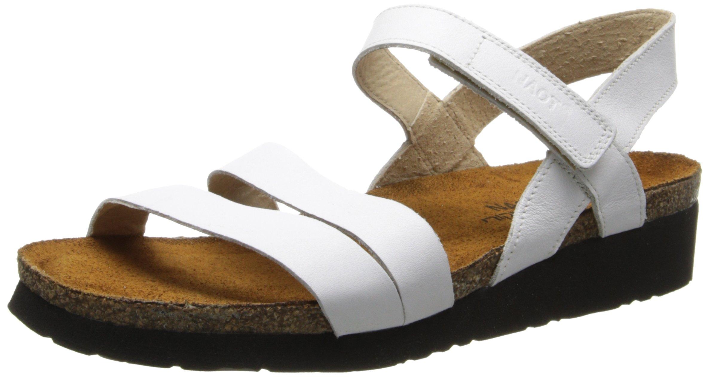 Naot Women's Kayla Wedge Sandal, White Leather, 37 EU/6-6.5 M US