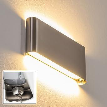 Moderne LED Wandleuchte Galindo Aus Stahl Gebürstet U2013 Futuristische  Wandleuchte Mit Schalter Am Lampenschirm U2013 Fest