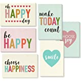 Encouragement Greeting Cards - 36 Pack All Occasion Bulk Box Set Assorted Blank Note Cards - 6 Pastel Colored Happy Heart Designs - Blank on The Inside Notecards Envelopes Included - 4 x 6 inches