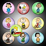 """Peanuts Gang magnets Set of 10 Characters 1"""" Charlie Brown Linus Schroeder Snoopy woodstock Linus Sally Lucy Peppermint Patty Marcie Pigpen Franklin Fridge magnets locker whiteboard"""