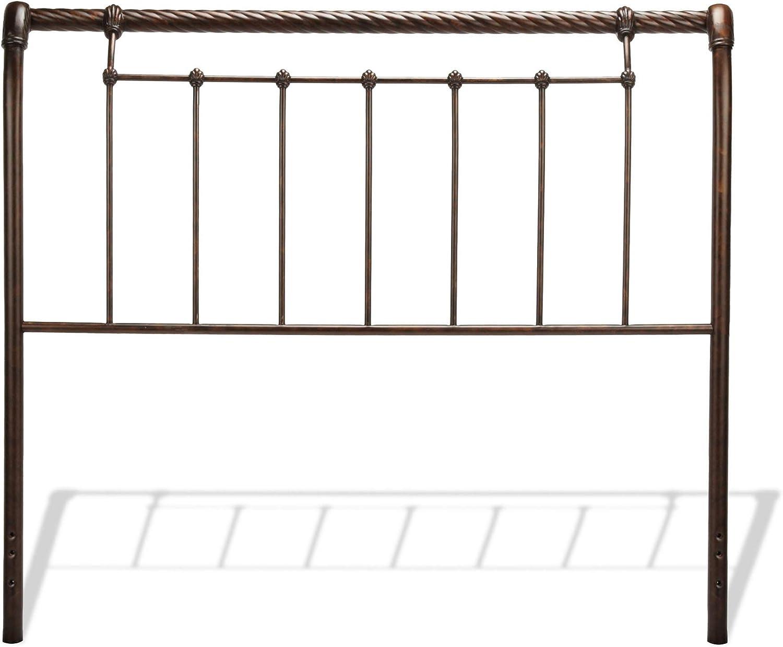 Leggett Platt Legion Metal Sleigh-Styled Headboard Panel with Twisted Rope Top Rail, Ancient Gold Finish, King