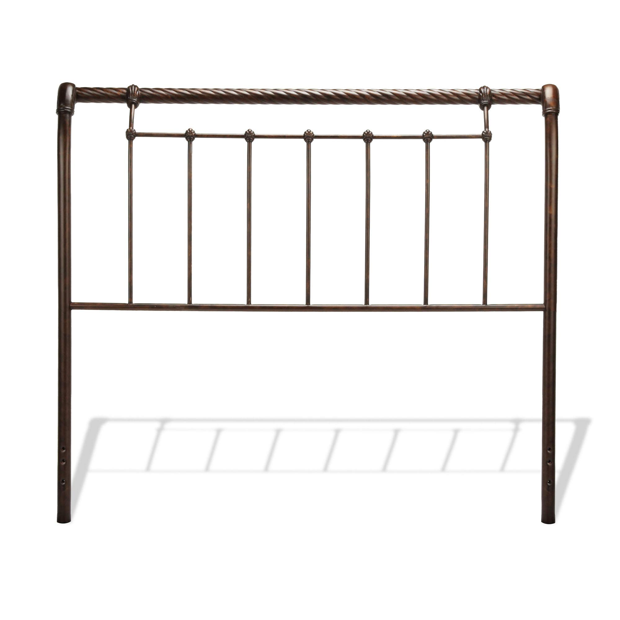 Leggett & Platt Legion Metal Sleigh-Styled Headboard Panel with Twisted Rope Top Rail, Ancient Gold Finish, King by Fashion Bed Group