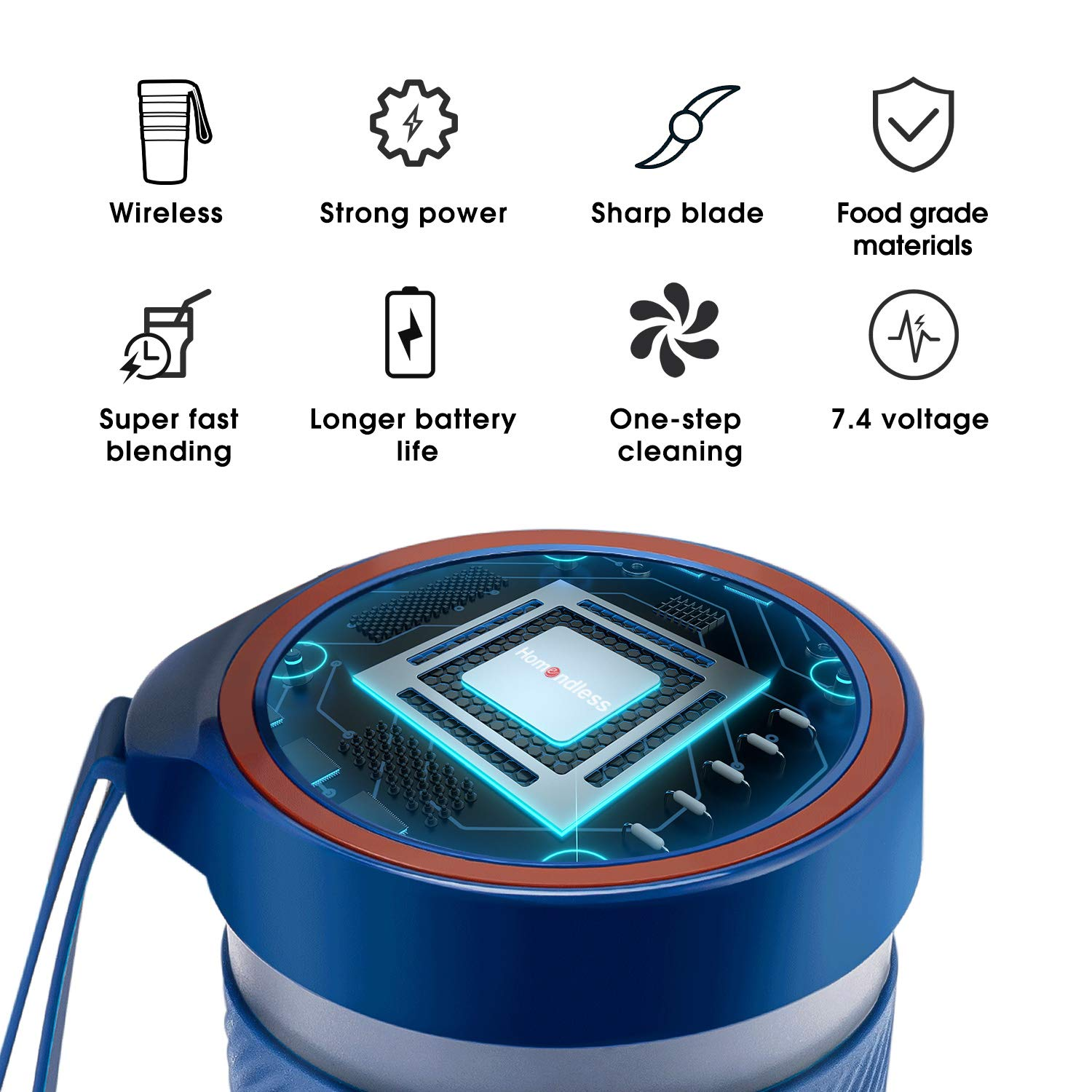 Portable Blender BPA Free IP68 Waterproof 10oz Cordless Personal Blender Fruit Juicer Mixer for Office Gym Outdoors Travel Mini Smoothie Blender with Rechargeable Battery 7.4V Strong Power