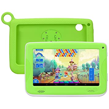 7 Pulgadas Tablet para Niños QIMAOO Android Tablet Infantil Tablet PC 8 G ROM + 32G SD Tarjeta de Memoria Android 4.4 Quad Core 1.2 GHz con Funda de ...
