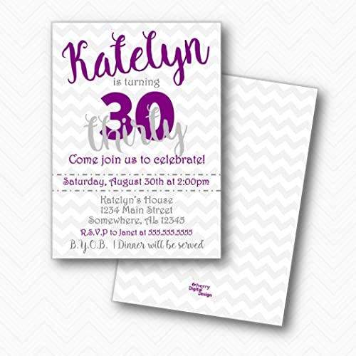 Image Unavailable Not Available For Color Chevron 30th Birthday Party Invitations