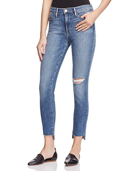 FRAME Denim Women\'s Le High Skinny Raw Stagger Jeans in Forest (Blue ...