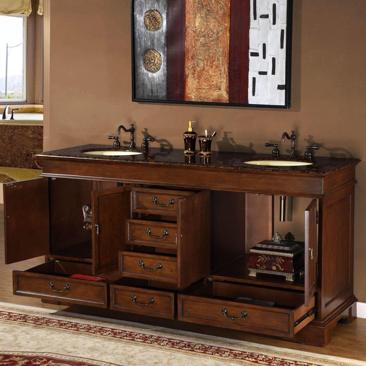 72, Silkroad Exclusive Baltic Brown Granite Stone Top Double Sink Bathroom Vanity Cabinet