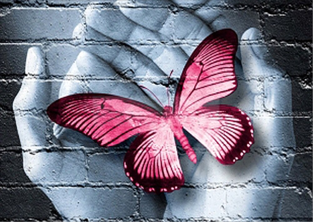 5D DIY Diamond Painting kit Rhinestone Embroidery Cross Stitch Arts for Craft Home Wall Decor,Pink Butterfly WYQN