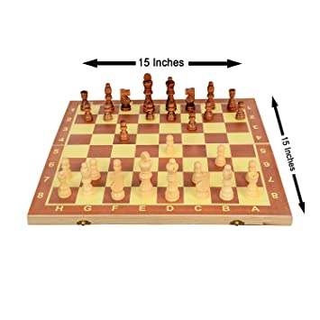 Ohotnik Chess 15 Inches Handcrafted Wooden Chess Set with 32 Pieces Board Game