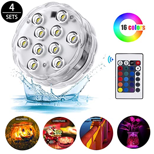 Luz LED sumergible, luces LED multicolores con control remoto RGB ...