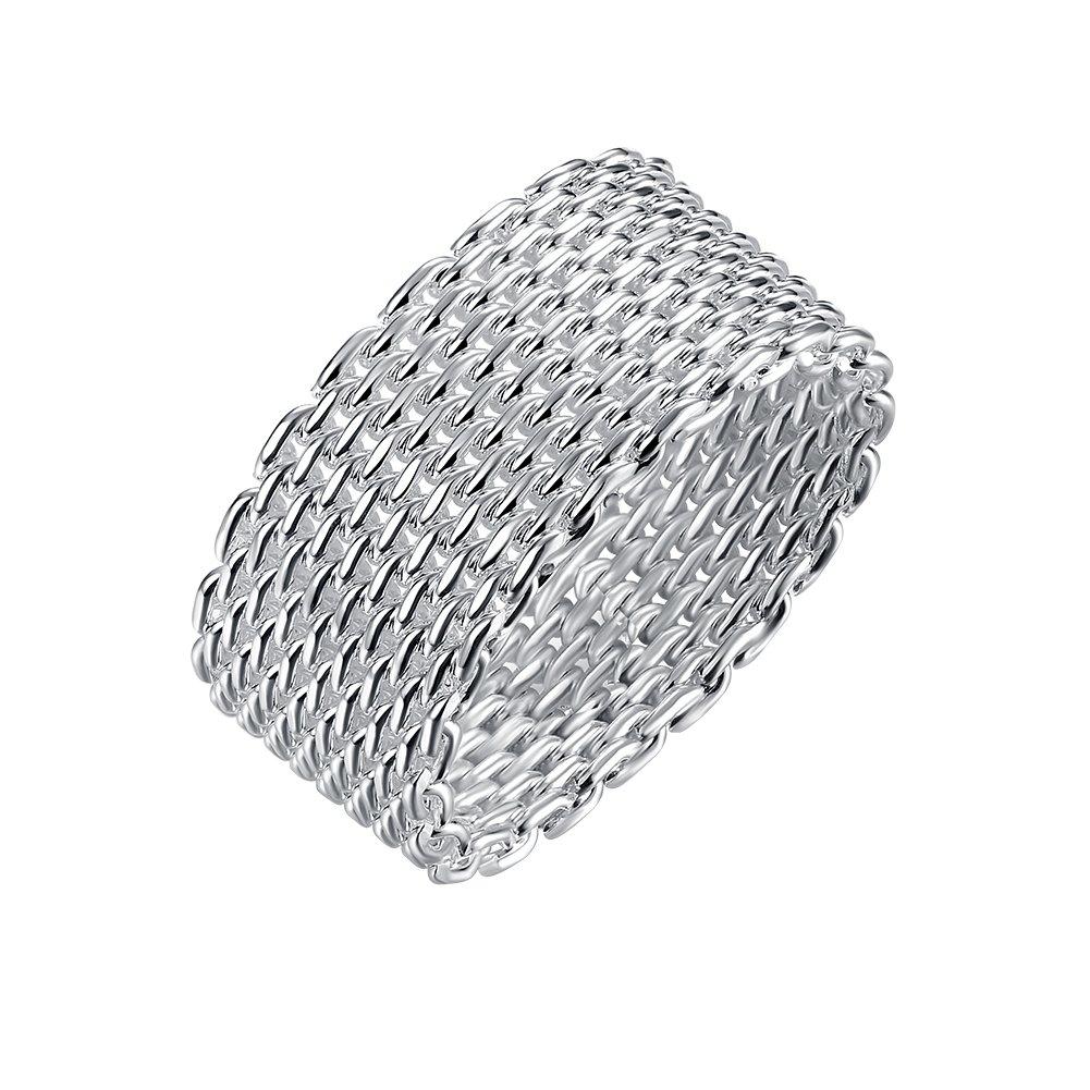 Ecloud Shop Gewebte Flexible Somerest Netz Chain Link Ringe Sterling ...