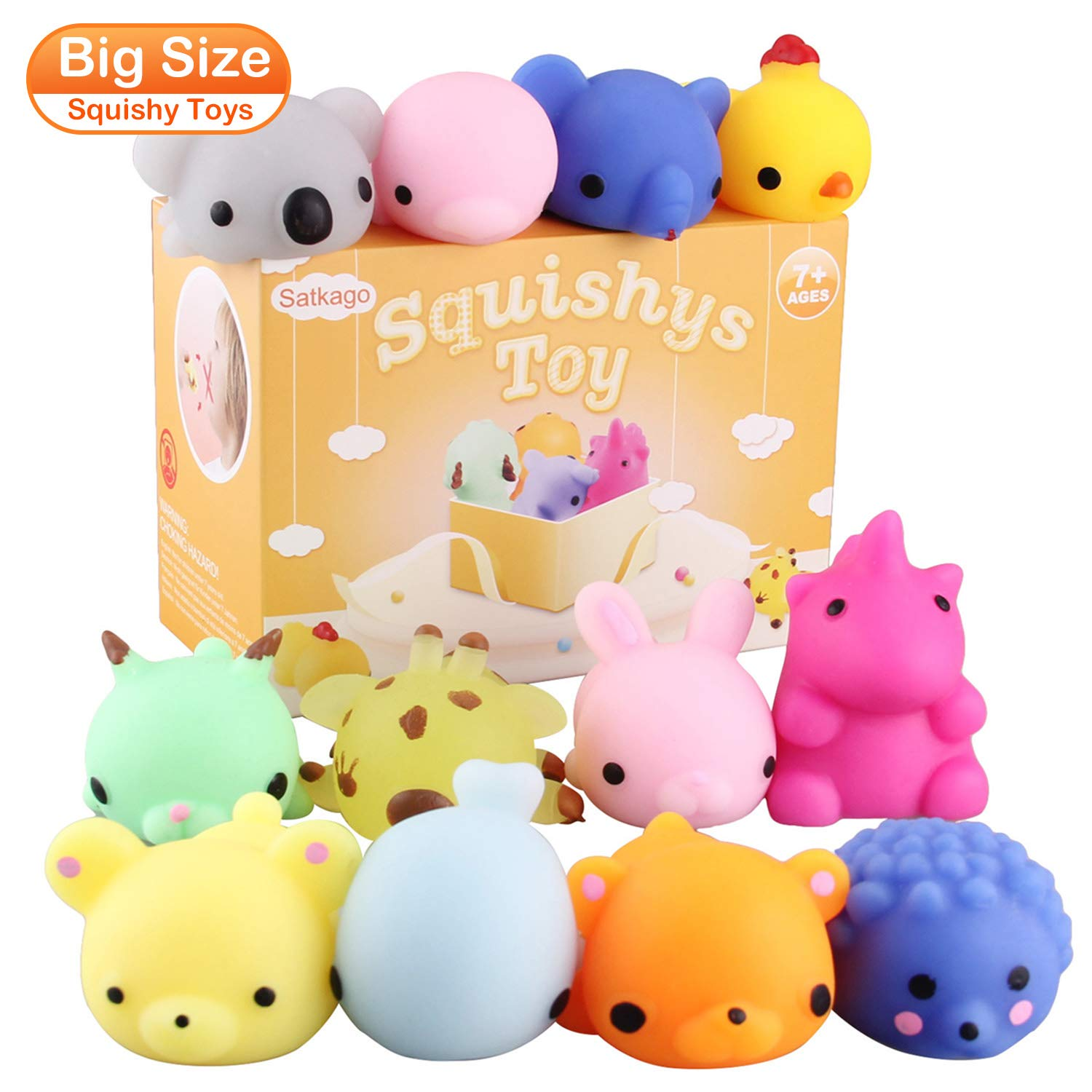 Satkago 3rd Generation Squishys Toys, 12pcs Big Upgrade Size Mochi Kawaii Squeeze Cartoon Animal Toys for Kids Adults Stress Relieve Pressure Release Anxiety Toy by Satkago (Image #8)