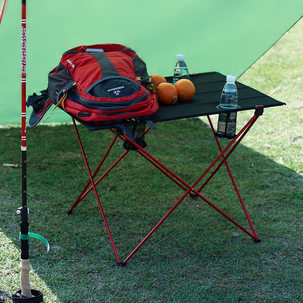 G-desplegada: 75 x 56 x 53cm Mesa de Camping Port/átil OUTRY ligero mesa plegable con portavasos