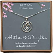 EFYTAL Mom Gifts, 925 Sterling Silver Heart with CZ Necklace for Mother & Daughter, Mom Necklaces for Women, Best Birthday G