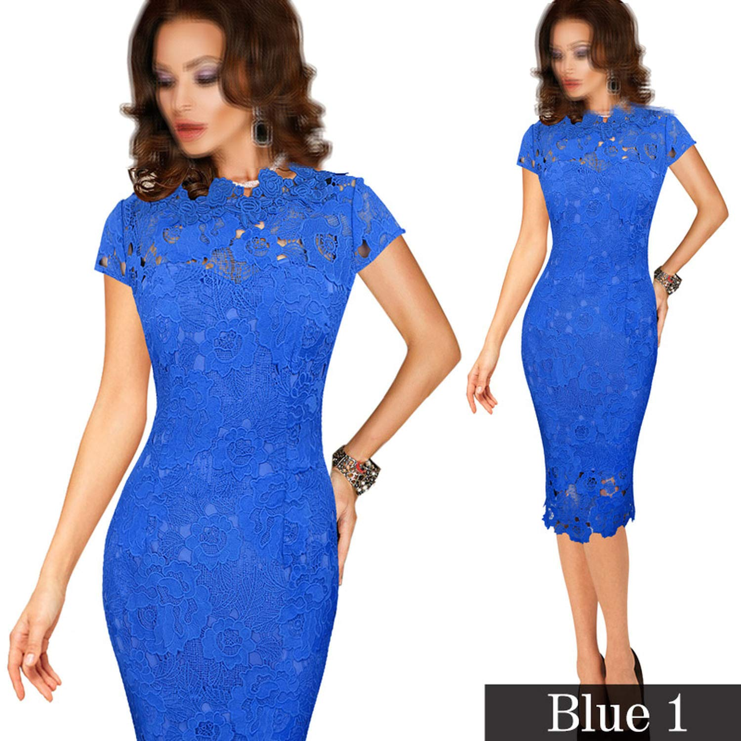 bluee 1 TheUniqueHouse Womens Elegant Sexy Crochet Dress Hollow Out Pinup Party Special Occasion Sheath Fitted Vestido
