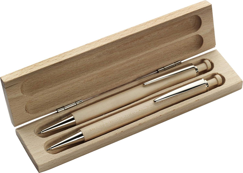 bleu et marron en bois de h/être-couleur Set /écriture malenteen /érable marron kit compos/é dun stylo /à bille et porte-mine en m/étal mine avec clip