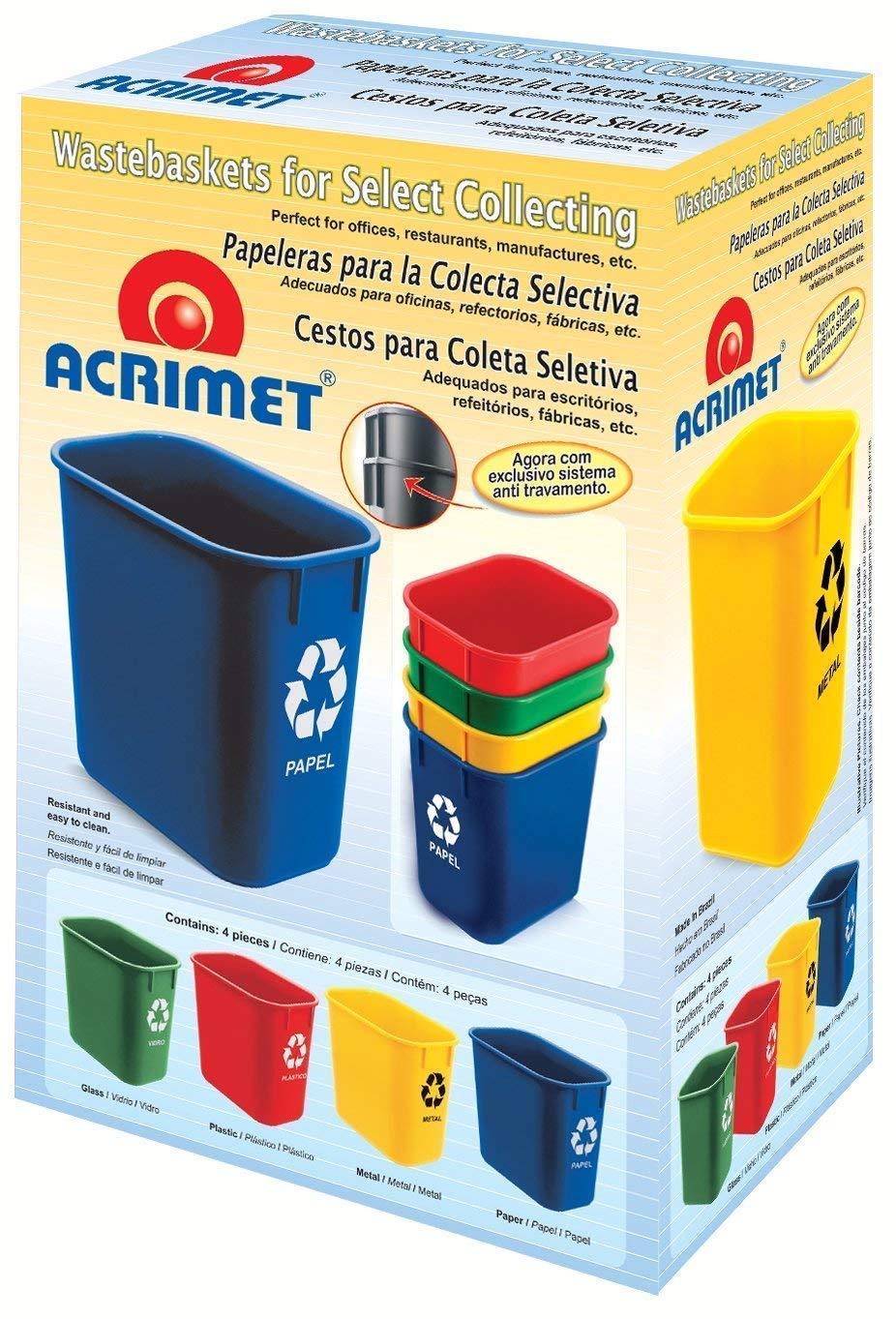Acrimet Wastebasket for Recycling 13QT (4 Units) by Acrimet