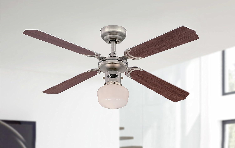 60 W Westinghouse Ventilatore a Soffitto Portland Ambiance El E27 Peltro Nero