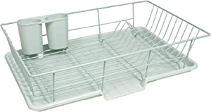 "Sweet Home Collection 3 Piece Dish Drainer Rack Set with Drying Board and Utensil Holder, 12"" x 19"" x 5"", Mint"