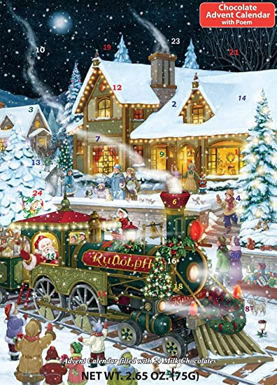 whistle stop christmas chocolate advent calendar filled with 24 milk chocolates265 oz