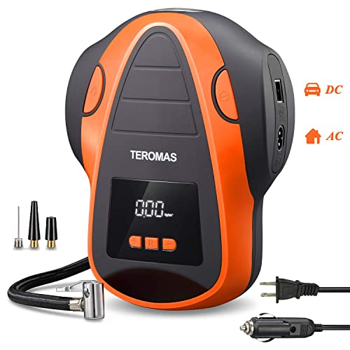 TEROMAS Tire Inflator Air Compressor, Portable DC AC Air Pump for Car Tires 12V DC and Other Inflatables at Home 110V AC, Digital Electric Tire Pump with Pressure Gauge