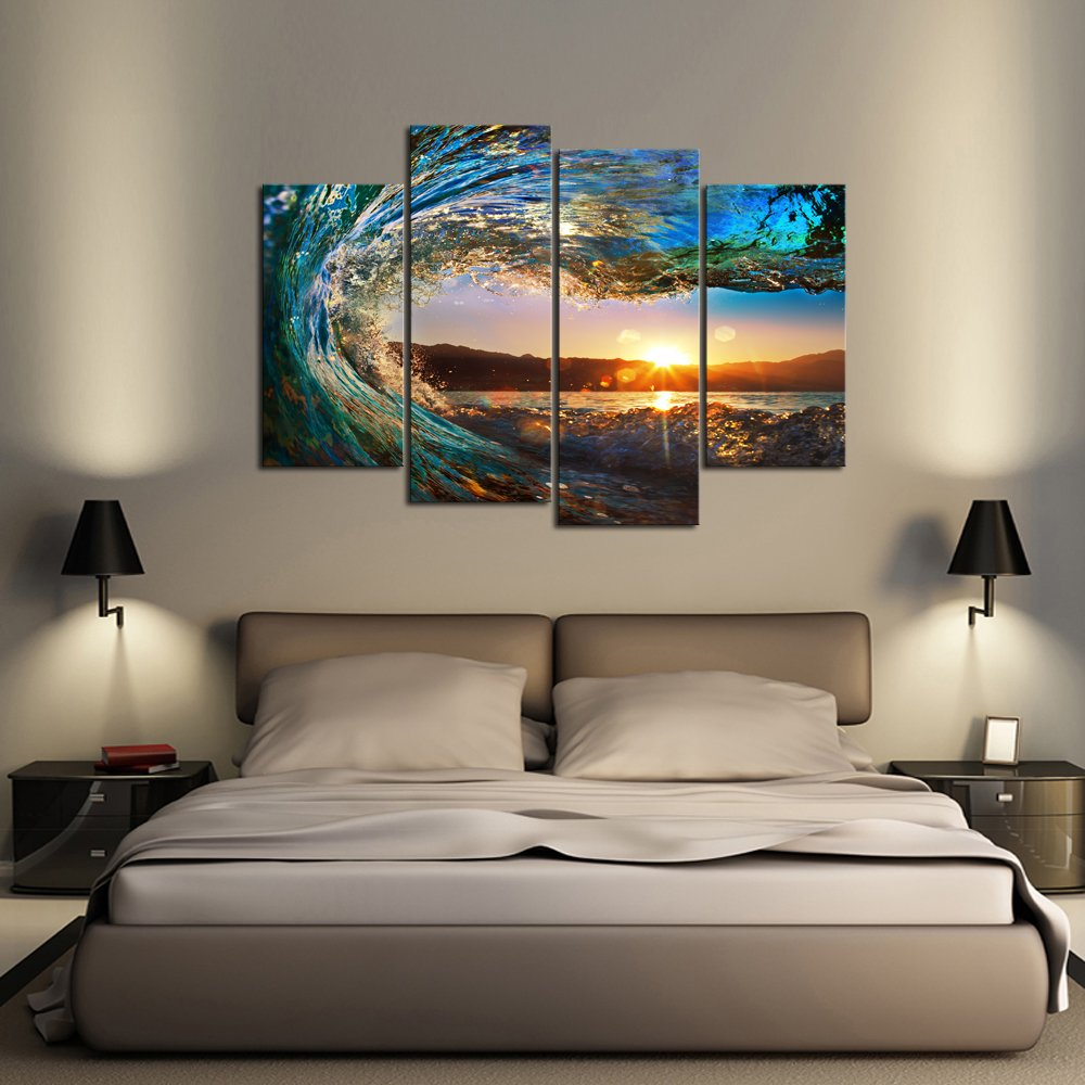 Cao Gen Decor Art-S70438 4 panels Wall Art Waves Painting on Canvas Stretched and Framed Canvas Paintings Ready to Hang for Home Decorations Wall Decor