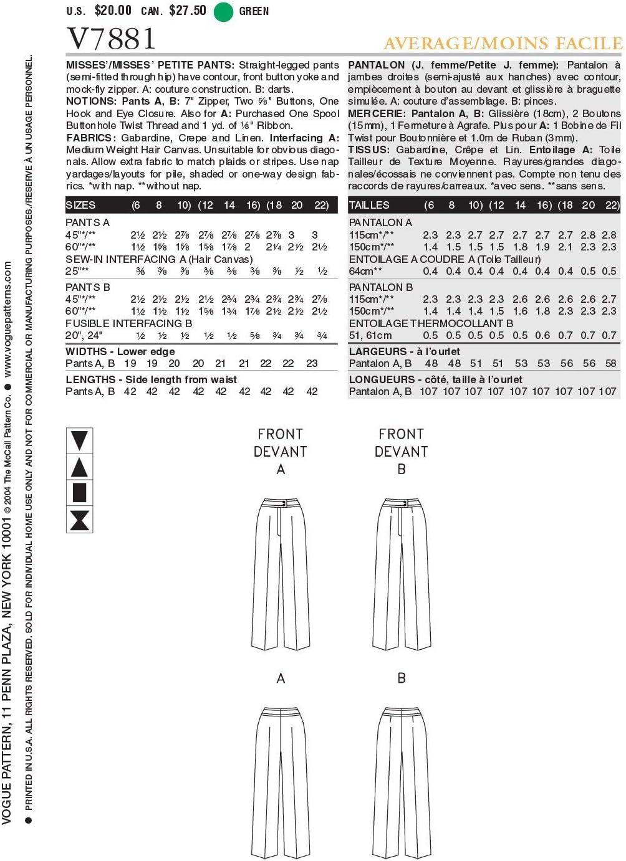 32-34-36 Cartamodello di Pantaloni Gr Vogue 7881 6-8-10