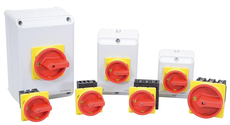 Lasttrennschalter JS3P50A-G Reparaturschalter Not-Aus-Schalter Hauptschalter 50A 3-polig im Geh/äuse