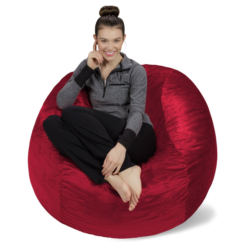 Sofa Sack - Plush, Ultra Soft Bean Bag Chair - Memory Foam Bean Bag Chair with Microsuede Cover - Stuffed Foam Filled Furniture and Accessories for Dorm Room - Cinnabar 4' by Sofa Sack - Bean Bags