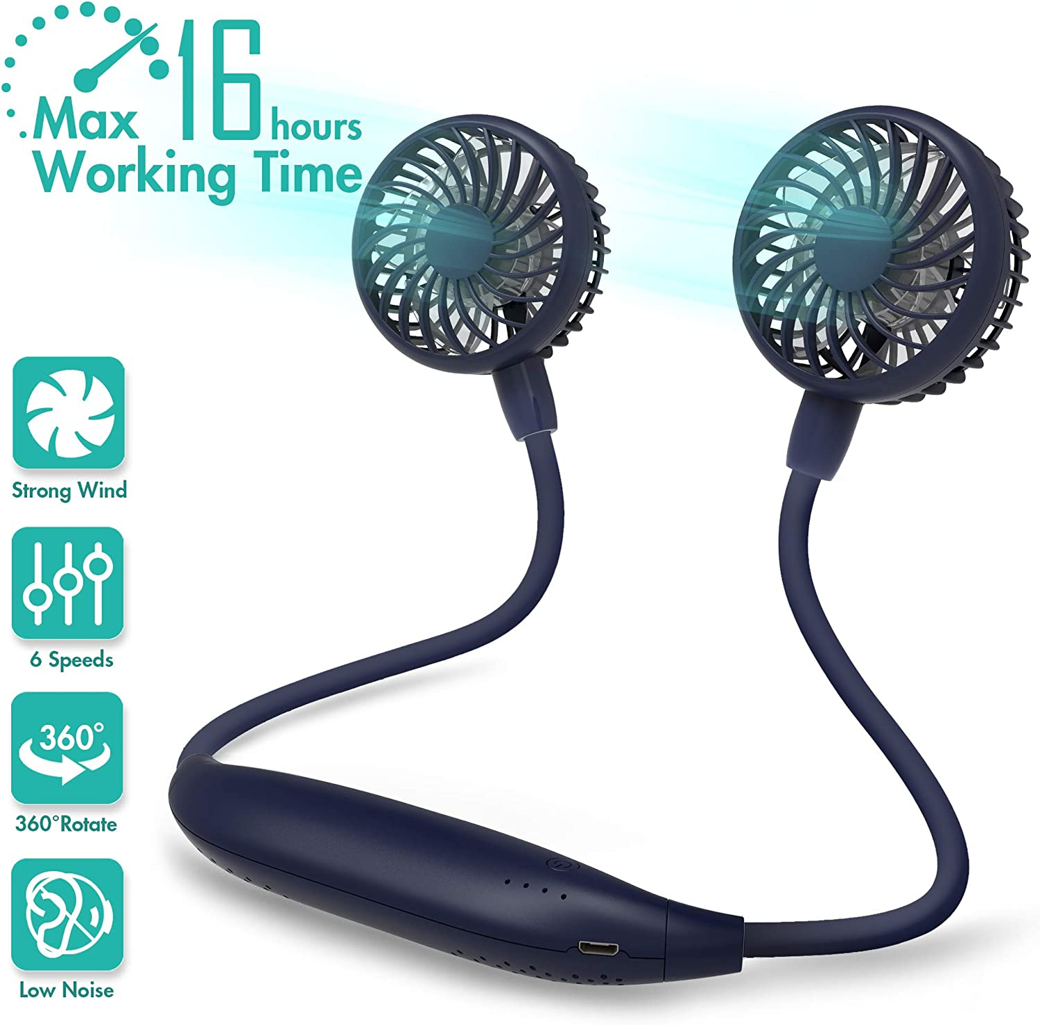 Neck Fan 2600mah Battery Operated Neckband Fan 6-Speed Hand-Free Wearable Personal USB Fan for Hot Flashes Home Office Travel Outdoor Sports (Navy Blue)