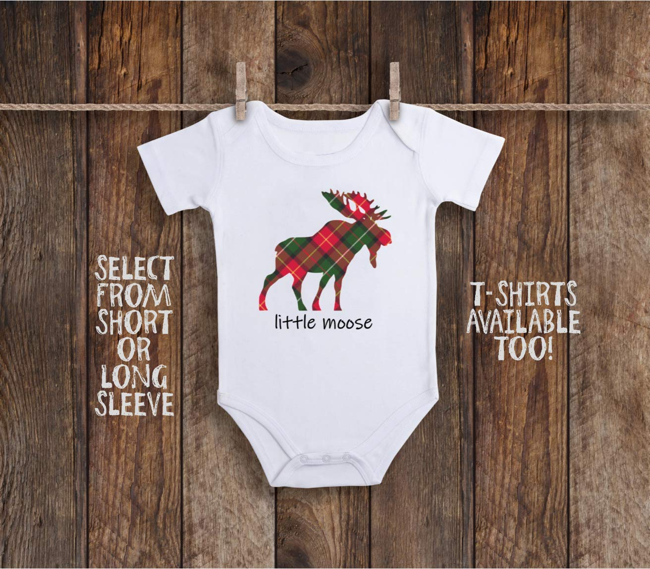 Little Moose Baby Bodysuit For Daddys Future Hunting Buddy, Elk Woodland Animals, Flannel Plaid