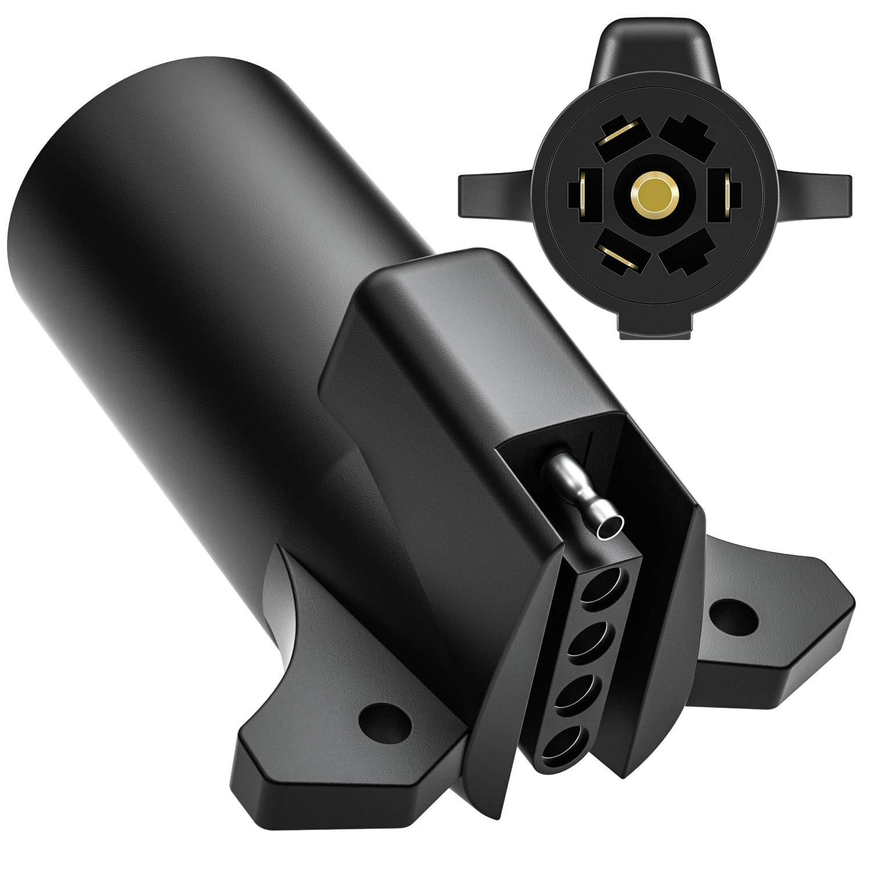 Trailer Adapter, Kohree RV Heavy Duty Trailer Adapter Connector 7/5 Blade 7 Way to 5 Way Flat 5 Pin Trailer Towing Wiring Weatherproof by Kohree