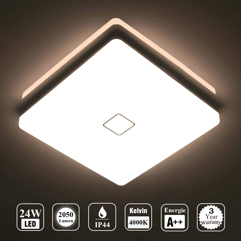 Öuesen LED 24W lámpara de techo resistente al agua moderna LED luz de techo Cuadrado delgada 2050lm Blanco natural 4000K para baño Dormitorio Cocina Sala de estar Comedor Balcón Pasillo product image