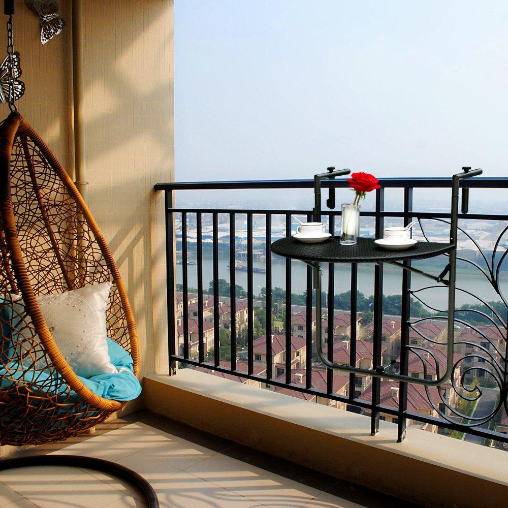 IKAYAA Adjustable Folding Balcony Deck Table Hanging Patio Railing Dining Table Garden Patio Furniture